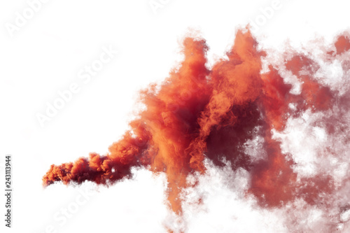 Obraz na plátně Red and orange smoke isolated on white background