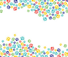 Vector Abstract Animal Paw Footprint Pattern For Veterinar Design. Cat, Dog Pets Colorful Feet Track Template, Frame With Space Text.