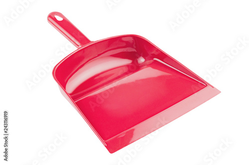 Fotografía  Red plastic scoop for garbage isolated on white background without shadow