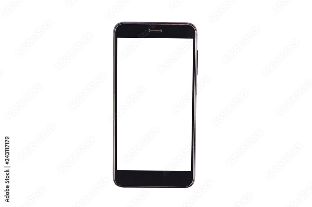 Fototapeta Single black smartphone with isolated blank white screen isolated on white background. Clipping path - image. Top view