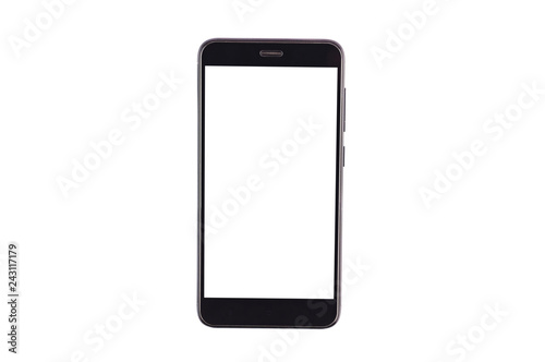 Photo  Single black smartphone with isolated blank white screen isolated on white background