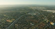 Aerial Sunrise View Melbourne Suburb With Essendon Airport