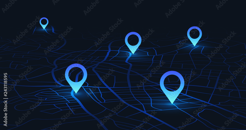 Fototapeta Gps tracking map. Track navigation pins on street maps, navigate mapping technology and locate position pin vector illustration