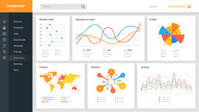 Graphs Dashboard. Infographic Data Chart, Web Site Admin Panel And Finance Charts Vector Template