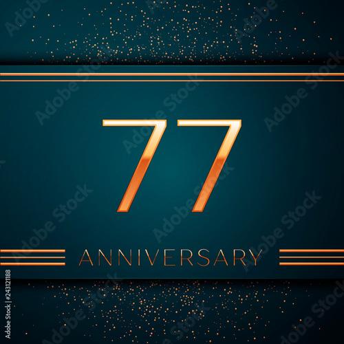 Fotografie, Obraz  Realistic Seventy seven Years Anniversary Celebration design banner
