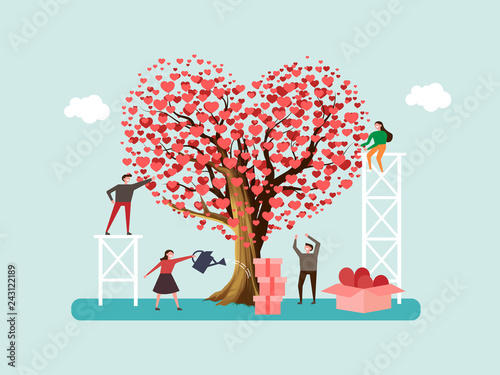 Fotografia Volunteers grown tree of love and send out care, hearts to people
