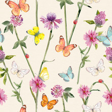 Botanical Seamless Texture With Ladybugs On Meadow Flowers And Flying Butterflies. Watercolor Painting