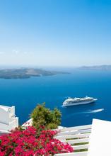 White Architecture On Santorini Island, Greece. Beautiful Summer Landscape, Sea View.