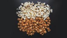 Assorted Popcorn Set. Sweet And Salty Popcorn On Black Background