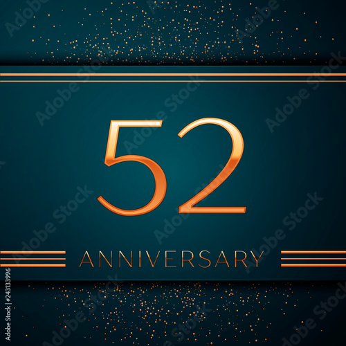Photo  Realistic Fifty two Years Anniversary Celebration design banner