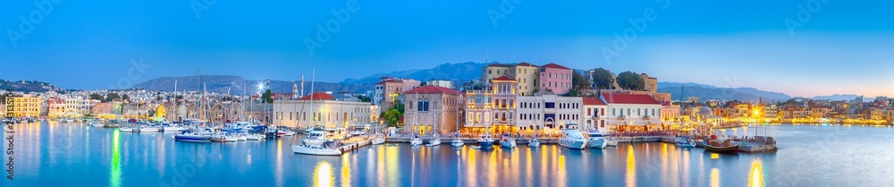 Fototapety, obrazy: Amazing and Picturesque Old Center of Chania  Cityscape with Ancient Venetian Port At Blue Hour in Crete, Greece.