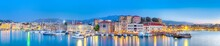 Amazing And Picturesque Old Center Of Chania  Cityscape With Ancient Venetian Port At Blue Hour In Crete, Greece.