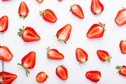 Fotografie, Obraz  Fresh strawberries pattern, top view
