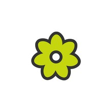Outline Flat Icon Of Flower With Green Petals And Black Outline. Contour Of Bloom.