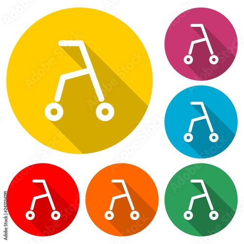 Photo  Rolling walker icon or logo, color set  with long shadow