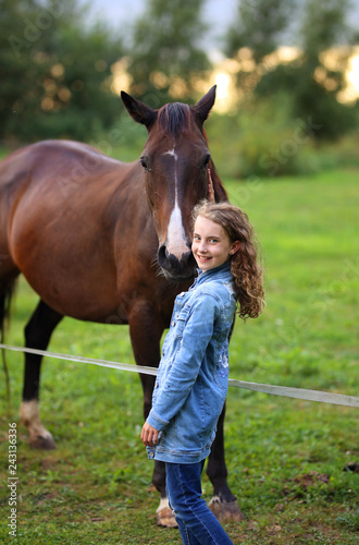 Canvas Prints Horses young girl on ranch with horses