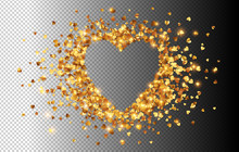 Golden Hearts Confetti Vector ...