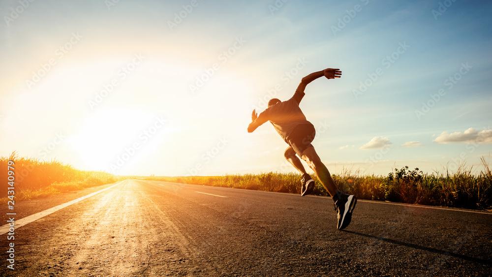 Fototapety, obrazy: Athlete runner feet running on road