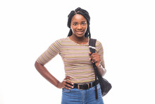 College Student Young African American Woman Isolated On White Background