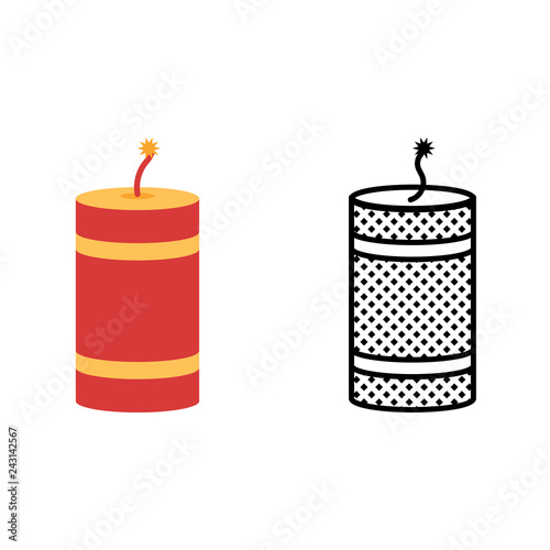 Fotografija  Firecracker icon set, pyrotechnics symbol, vector illustration