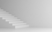 View Of White Stairs On White Background,Concept Of The Way To Success. 3D Rendering