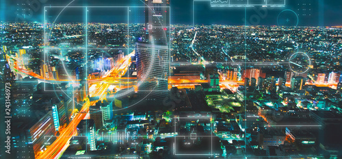 Photo  Aerial view of Tokyo at night with a techology theme