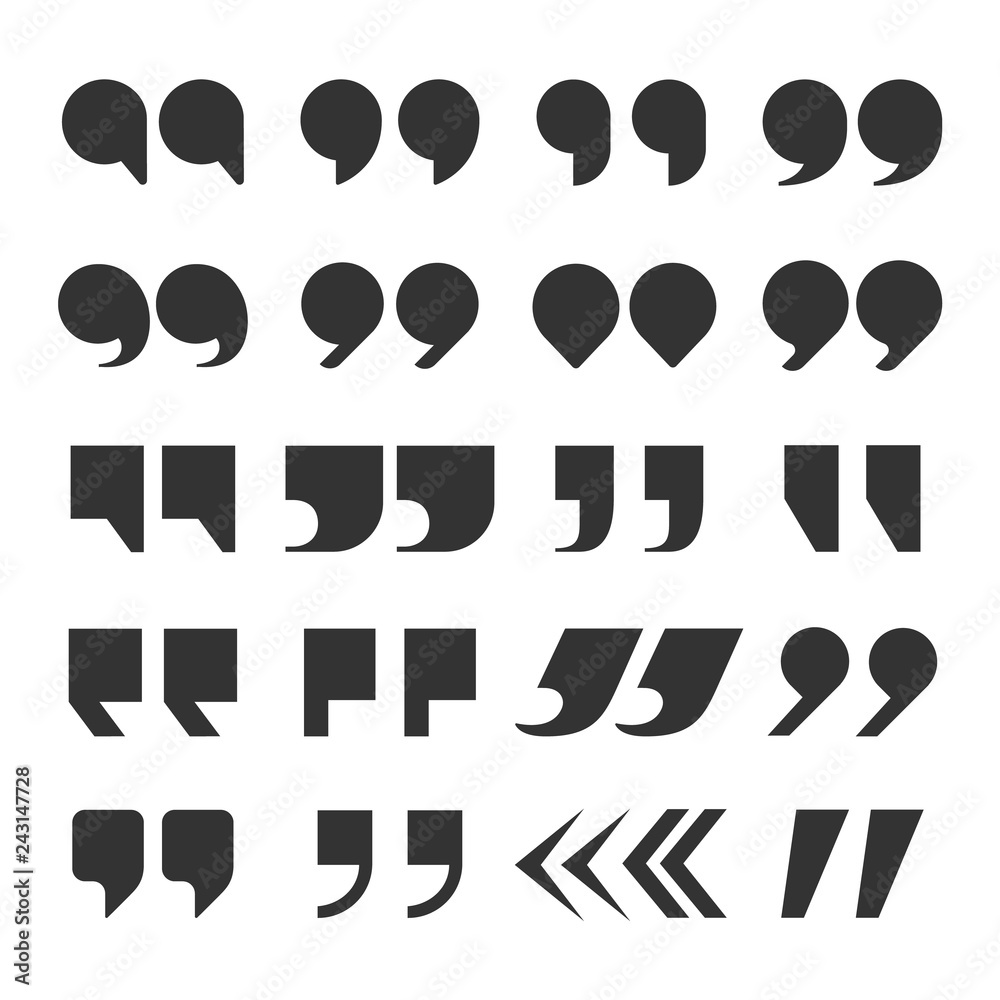 Fototapety, obrazy: Quotes marks. Quotation marking speech punctuation excerpt commas double comma. Remark button vector set
