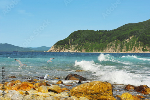 Obraz premium Nadmorski prąd / Seascape - Cieśnina Chikhachev na wschodnim wybrzeżu morza Japonii, Dalekiego Wschodu, Rosji