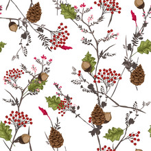 Seamless Vector Autumn Pattern With Red And Orange Berries And Leaves. Fall Colorful Floral Background.pattern For Fashion,fabric And All Prints