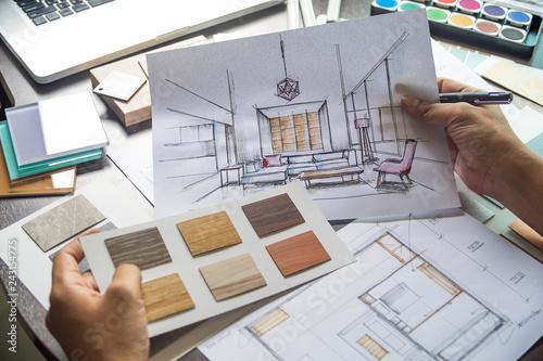 Tablou Canvas Architect designer Interior creative working hand drawing sketch plan blue print