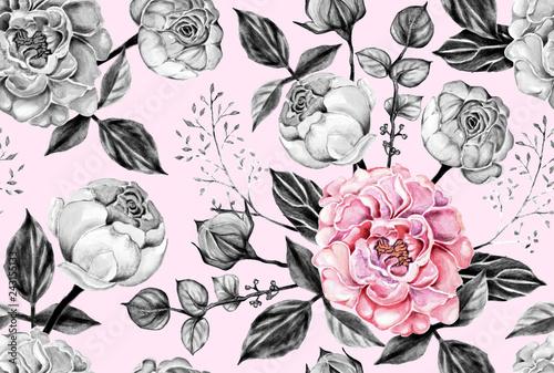 wzor-rozowy-i-szara-roza-kwiaty-vintage-na-pastelowy-kolor-na-bialym-tle-recznie-rysowane-akwarela-ilustracja