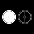 Viking shield icon set white color illustration flat style simple image