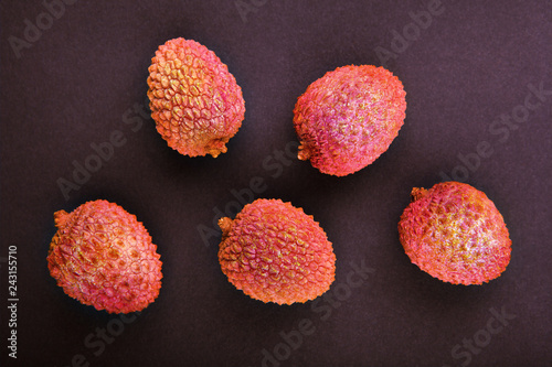lychee fruit nobody dark background