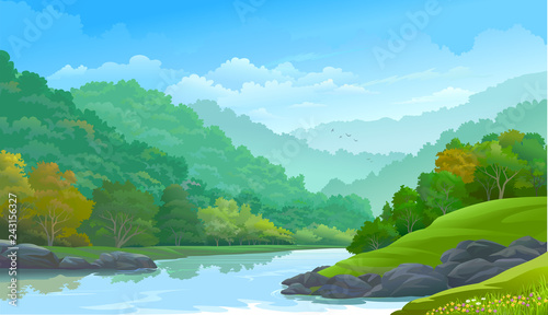 Foto op Canvas Pool Dense green forest along side a river and a few rocks
