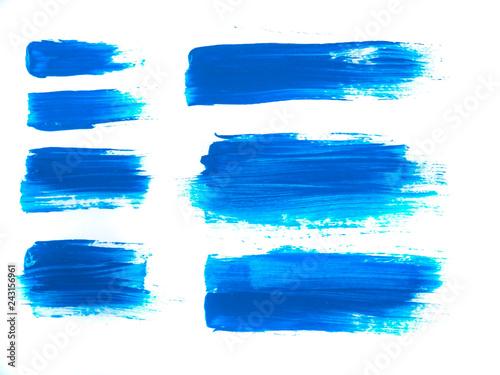 Fotografía  Blue Acrylic Paint Stroke Isolated on White Background