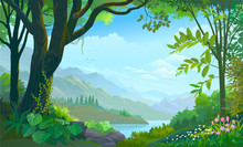Tropical Forest, Big Tree, Plants And Flowers, Mountains And Rivers.