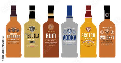Fotografia Bottle mockups with alcoholic drink labels