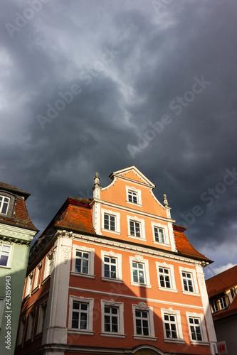 Aluminium Prints Europa historical city facades on a stormy day