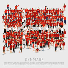 Crowd Of People In Shape Of Denmark Flag : Vector Illustration
