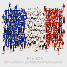 Crowd Of People In Shape Of France Flag : Vector Illustration