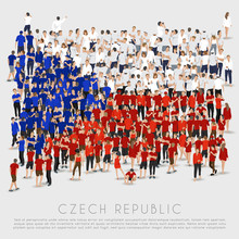 Crowd Of People In Shape Of Czech Republic Flag : Vector Illustration