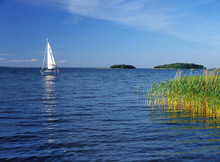 Sniardwy Lake, Masuria Region (Mazury), Poland - July, 2005: Sailboat On Sniardwy Lake