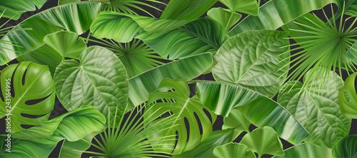 fototapeta na szkło Jungle foliage seamless pattern, 3d vector realistic background