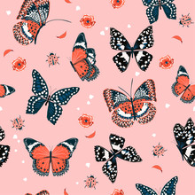 Sweet Tone Of Butterflies Flying In The Garden ,lady Bug,insect Seamless Pattern Vector Scattered Repeat For Fashion ,fabric ,wallpaper And All Prints