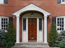 Brick House, Wooden Front Door With Portico Cover