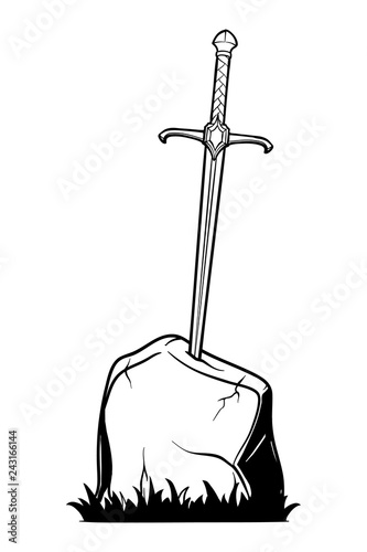 Photo Excalibur Sword trapped in stone