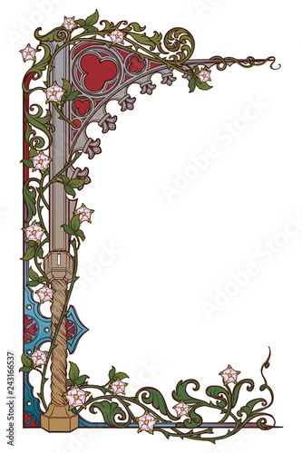 Fotografija Medieval manuscript style rectangular frame