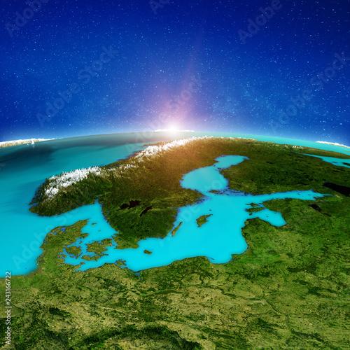 Fotografie, Obraz  Scandinavia space background