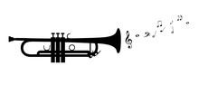 Trumpet Silhouette With Flying Notes - Black Vector Illustration - Isolated On White Background