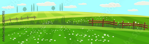 Rural spring landscape countryside with farm field with green grass, flowers, trees. Farmland. Outdoor village scenery, farming background. Vector illustration. isolated. Cartoon style